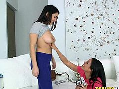 Latina slut Luna, and her roommate, Valentina, have such intense sexual tension. They need to release it somehow, perhaps by flashing their cunts to each other? They take pics of each other's twats, to use for masturbation aid later, but the hotties can't control themselves. They embark on a lesbian adventure.