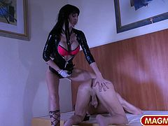 Gina Bang is also known as Domina Gina playing a dominatrix role such as in this scene where she wears a strapon and ass fucks an old man. Then she reverses her role and takes 2 cocks up her ass.