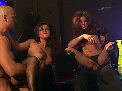 Sex club orgy with super hot cock whores doing DP fucking