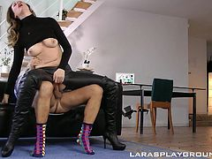 Lara and Jim have been married for quite a while. They fuck other people all the time, but they still like to have sex with each other, as well. Lara gets dressed up in a hot leather outfit with no crotch, giving her man access to her pussy. She rides him, blows him and bends over, to take some more.