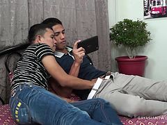 This tall sexy str8 Asian boy gets a blowjob from our resident gay Asian cock sucker Alex. Christoph did need a little help by watching some straight porn on his iPad Mini. Alex takes his time working up a boner on this str8 Asian stud. And when all was said and done, Christoph finally needs to take over and wank himself to produce a cum shot.