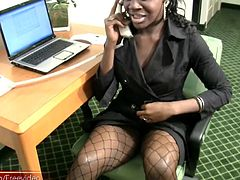 This full figured ebony t-babe was stripping out of her office clothes and jerked and teased her thick cock until it was standing at full attention and before long, this black nympho was moaning in...