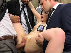 Juliette is a new agent, and that means she has to go through some training and certain situations, before she can get out into the field. These senior agents put her through the test, finding out how much cock she can fit in her mouth and, how hard of a pounding her pussy can take, before she begs.