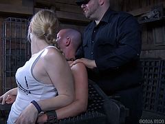 Some girls want to experience pain and pleasure at the same time and Abigail Dupree, is one of them. Her pussy and ass holes were stretched to the maximum extent and machine fucked, while vibrators were placed on her clit. She was unable to move freely because of restraints, but had great time.