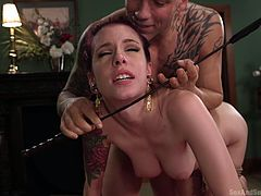 Anna De Ville just likes when you tie her up and treat her like a sex toy. Tied up, she has no choice but to submit to your will. Finger her pussy, slap her, beat her with a whip, mouth fuck that slut. Options are infinite, more abusive you are, the more satisfied this slut is. Knock yourself out.