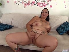 Sexy plumper milf shows every inch of her naked body before she fuck her pussy with a fat dildo followed by a vibrator. She gets orgasm in the end.