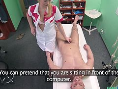 Nikky looks tremendously hot, wearing a sexy nurse uniform. Her patient gets undressed, as she requested. The naked guy will soon find out, how pleasant can be his visit to the doctor... So, he follows the naughty blonde's indications and gets an inciting blowjob. Click to enjoy the kinky scenario!