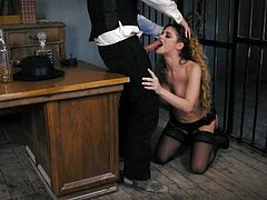 Max Cortes is a wasted sheriff in this town and is looking to teach this prisoner some manners. Cathy Heaven is restless when it cums to impressing the law with her huge tits.