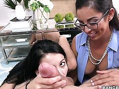 Step mom and step daughter threesome