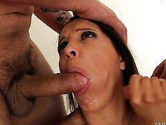 Francesca Le with gigantic hooters puts her soft lips on Anthony Rosanos stiff meat pole