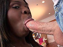 Accepting Ebony Babe With Tattoo Deepthroats A Cock In An Interracial POV