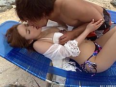 What better way to enjoy the nice weather, than going to the beach and getting naughty? We stripped nude and kissed each other's naked bodies. I grabbed her perfect tits and licked her puffy nipples. She loved that.