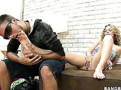 Blonde warms man up with her hands and takes his love torpedo