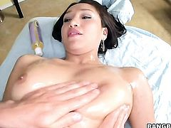 Brunette with bubbly ass is curious about interracial fucking