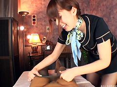 Hot stewardess milf Yui, gives great massages and handjobs. I met this beauty on my flight from Tokyo to Sapporo and when we landed, she came to my room, to fuck. The nasty slut sat on my face in her pantyhose.