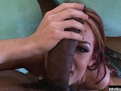as she fantasizes about being fucked by Shanes huge pipe, until he walks through the door and takes off her wet panties, before siting down and pulling her on top, so she can have a ride on his kong dong. Before long, youll see this redheads hooters and asshole, until she gets a creampie.