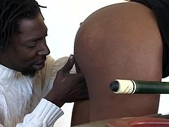 Byron gets all up in that juicy black ass. He leans over hot slut Liona, as the pair are playing a game of snooker. Maybe, if he eats out her pussy, that will distract her from sinking the shot. After teasing her clit, Byron lays back on the table and gets his big black cock sucked.