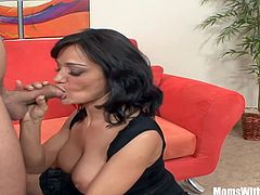 Busty mature wife Sami Scoot gets hard fucked on the couch as her husband watches nearby. Her horny lewd fantasy just came true.