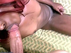 Redhead ebony shemale dressed in a hot mini skirt outfit enjoyed showing off her sexy self for the camera. But once she got her mouth on that man meat, her girl pole got too long and hard to hide...