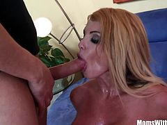 Blonde housewife Taylor Wane with gigantic boobs in sexy lingerie seduces the statistics man and get her pussy drilled deep in the couch.