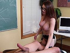Big tits teacher develops appetite for huge cock