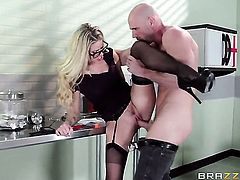 Johnny Sins cant resist naughty Jessa Rhodess acttraction and bangs her like crazy