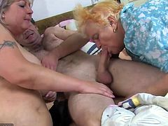 Old BBW granny and chubby big tits mature is enjoying with guy nice threesome