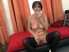 Stockings are hot on a sexy solo granny