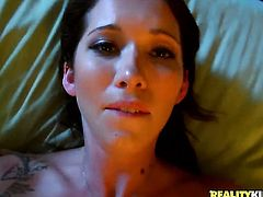 Brunette Tony Rubino with big breasts loves giving headjob