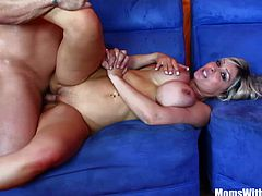 Cock loving blonde MILF housewife Jenna Cruz with majestic huge boobies gets banged hard and deep by a big fat meaty cock.