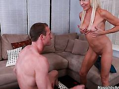 Blonde Erica Lauren gets covered in cock juice after sex with horny man