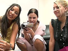 This CFNM story is all about four office girls that team up for a revenge. Naked man gets his hard cock stroked by fully clothed chicks right in front of the camera. They do it until he explodes.