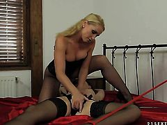 Blonde gets unthinkable lesbian pleasure to Kathia Nobili in girl-on-girl action
