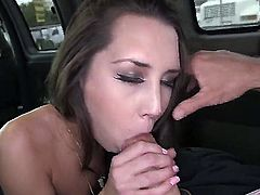 Sexy thing is on the van and she is about to have a fun ride to work. We pick her up and we offer her some money to show us what she can do. blow job.