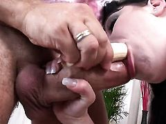 Rocco Siffredi makes Glamorous vixen Tina Gabriel scream and shout with his rock solid love wand in her back porch