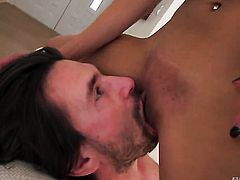 With juicy melons is dangerously horny after giving headjob to Manuel Ferrara