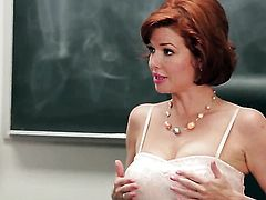 Veronica Avluv with big melons finds her pretty face covered in man cream in sexual ecstasy