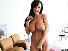 Brunette Lisa Ann eats dudes thick erect fuck stick like crazy