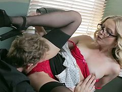 Visit official Babes's HomepageBlonde office beauty with amazing forms leaves boss to remove her undies and pump her wet vag in dirty scenes of hardcore until the end