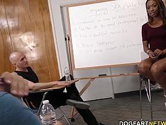 Chanell Heart is a Therapist. She's a sexy, ebony babe who wore a short skirt to the meeting. The conversation turns into a full-blown gang bang.