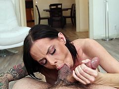 Brandy's crazy ass is one in a million! See this hot brunette milf exposing her buttocks and fantastic big boobs. The tattooed bitch seems also versed in the art of blowing dick, right down to the balls. Watch her throated and enjoy the spicy scenes...