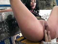 Shalina Devine makes Rocco Siffredi happy by blowing his ram rod after deadeye fucking