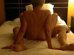 Horny big ass mature wife gets hardcore banged by her hubby in the hotel room, ends with a great closeup view of a creampie