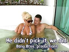Blonde Bridgette B with big booty does oral job for horny dude to enjoy