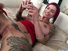 Milf with massive breasts feels intense sexual while giving handjob