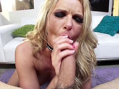 Long haired blonde breaths heavily with a lenghty cock shoved roughly in her anal