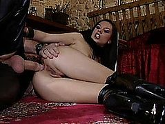 Perverted Anal Brunette Hair Vanessa May Acquires Screwed In Hawt Leather Underware