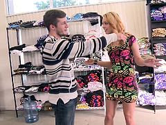 Kylie and her friend are shopping. They get offered some cash, to get naughty right in the store with some random guy. They rub his dick right in his pants and even get their tits out. They're willing to blow him, but he seems a bit shy.