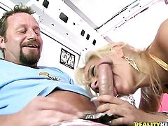 Blonde gets throat drilled