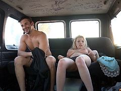 Amazing blonde chick is quite happy to get banged inside the car